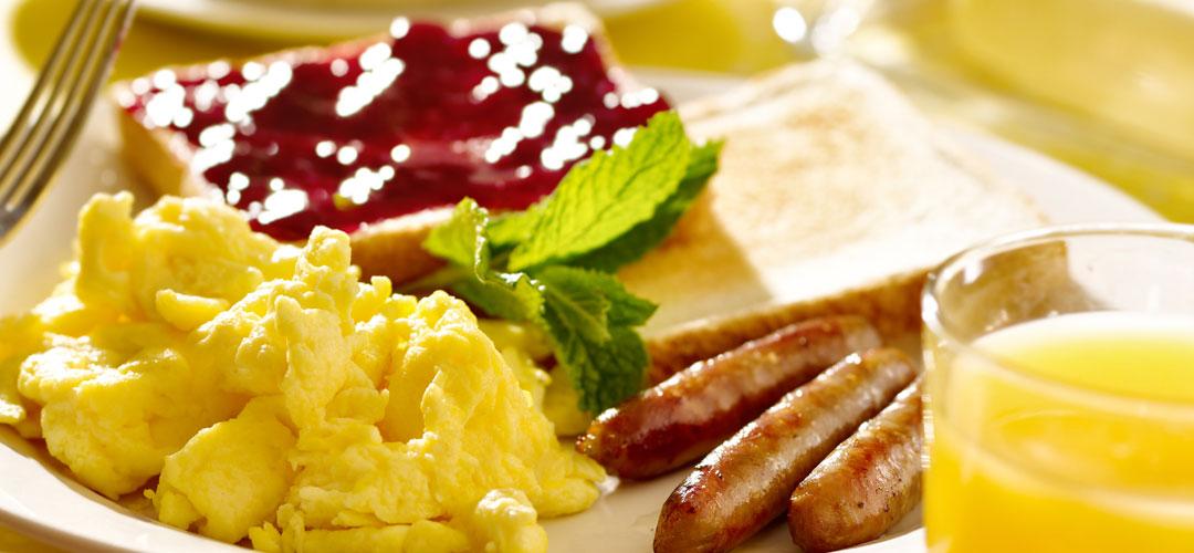 Breakfast foods, eggs, sausage